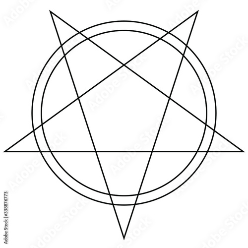 Simple lineart of black pentagram star and double circles isolated on white background Canvas Print
