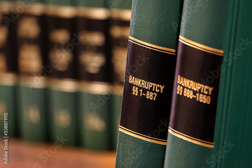 Bankruptcy Law Books on Shelf for Legal Reference Wallpaper Mural