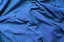 Crumpled Blue Cloth Texture, Empty Colorful Fabric Background. Vibrant Blue Colour Creasy Clothing Pattern, Wrinkled Cotton Material Image, Fashion Clothes Detail Close Up Top View