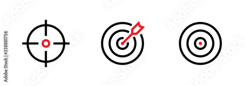 Photo Set of Aim, Target and Goal icons. Editable line vector.