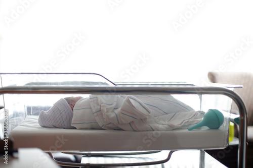 A newborn sleeps in her hospital bassinet Wallpaper Mural