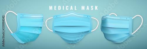 Obraz Realistic medical face mask. Details 3d medical mask. Vector illustration - fototapety do salonu