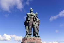 Spean Bridge, Lochaber, Highland, Scotland / UK - August 24, 2014: Commando Memorial Monument / Low Angle