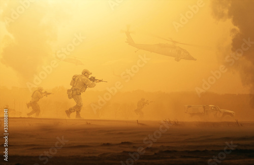 Military troops and helicopter on the way to the battlefield / Between sand stor Canvas Print