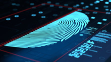 3d Illustration Of Artificial Fingerprint Generating Concept Interface