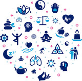 mindfulness / meditation / relaxation concept – connected icons related to mindful living, awareness, stress-relief - vector illustration