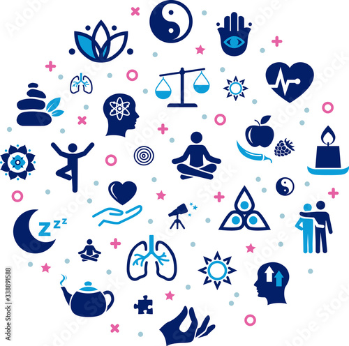 mindfulness / meditation / relaxation concept – connected icons related to mindful living, awareness, stress-relief - vector illustration Fototapete