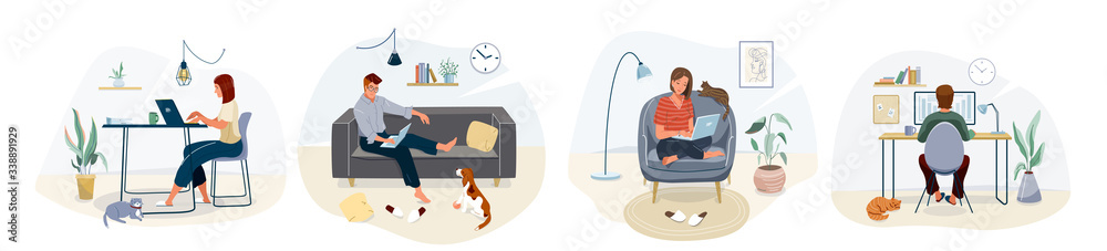 Fototapeta Work at home concept design. Freelance woman and man working on laptop with pets at their house, dressed in home clothes. Vector illustration set isolated on white background