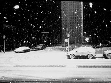 View Of Snow-covered Street At Night