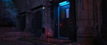 Dark Urban Future. Street Of A Futuristic City. Cyberpunk Cityscape. 3D Illustration. Wall Of A Futuristic Building With Door And Neon Lights. Beautiful Neon Night Scene.