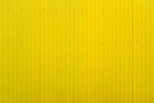 Yellow Metal Decking. Sheets Of Yellow Corrugated Iron