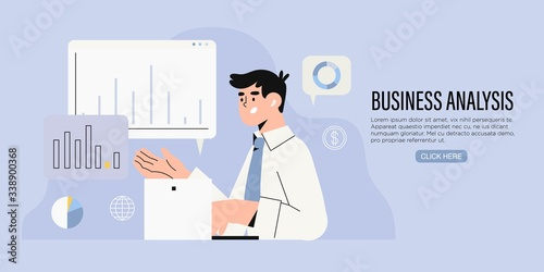 Fotomural Businessman research market on laptop and search solutions and strategies during financial and economic crisis to avoid bankruptcy and ways of company business recovery