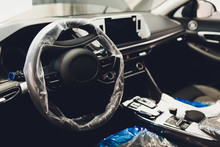 Steering Wheel With Protective Cover On. Car Pre-sale