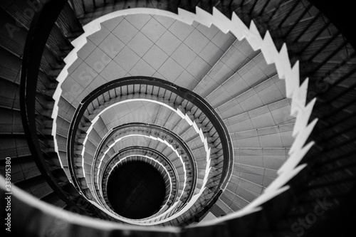 Fototapety, obrazy: High Angle View Of Spiral Staircase In Building