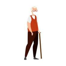 Old Man With Face Mask And Walking Stick Vector Illustration Design