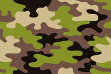 Seamless Classic Camouflage Pattern. Camo Fishing Hunting Vector Background. Masking Green Beige Black Brown Color Military Texture Wallpaper. Army Design For Fabric Paper Vinyl Print.