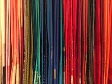 Full Frame Shot Of Saris Hanging In Shop