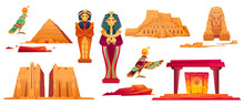 Ancient Egypt Landmarks. Vector Icons Set Of Sculptures Of Egyptian Gods, Sphinx, Pyramid And Golden Sarcophagus Of Pharaoh And Queen. Historical Temples And Obelisk Isolated On White Background