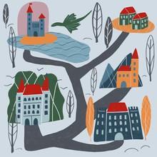 Hand Drawn Kingdom With Castle...