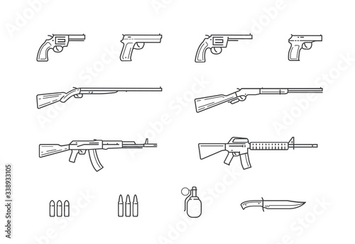 Fotografía Weapon and gun set icons. Firearms vector illustration