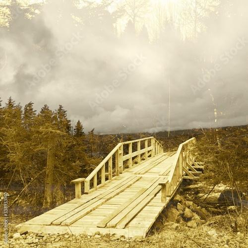 Fényképezés Footbridge Over River In Foggy Weather