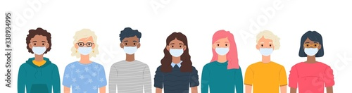 Obraz Children with medical masks on faces to protect their against coronavirus covid-19, 2019-nCov isolated on white background. Kids virus protection concept. Stay safe. Vector illustration - fototapety do salonu