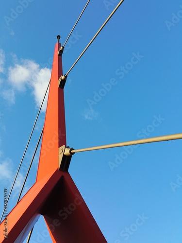 Vászonkép Architectural Detail Of Strencenter Footbridge Against Sky