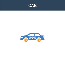 Two Colored Cab Concept Vector Icon. 2 Color Cab Vector Illustration. Isolated Blue And Orange Eps Icon On White Background.