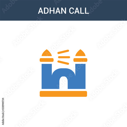 Photo two colored Adhan Call concept vector icon