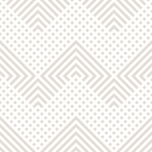 Vector Geometric Lines Seamless Pattern. Modern Texture With Diagonal Stripes, Broken Lines, Chevron, Zigzag, Squares. Simple Abstract Geometry. Subtle Minimal Beige And White Graphic Background