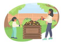 Composting. Girl And Woman Mak...