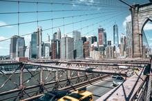 Manhattan Skyscraper View From The Brooklyn Bridge.