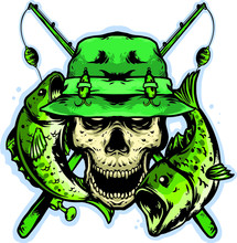 Skull Head With Fishing Equipm...