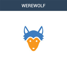 Two Colored Werewolf Concept Vector Icon. 2 Color Werewolf Vector Illustration. Isolated Blue And Orange Eps Icon On White Background.
