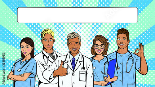 Doctors in pop art style. Vector background in comic style retro pop art. Illustration for print advertising and web.