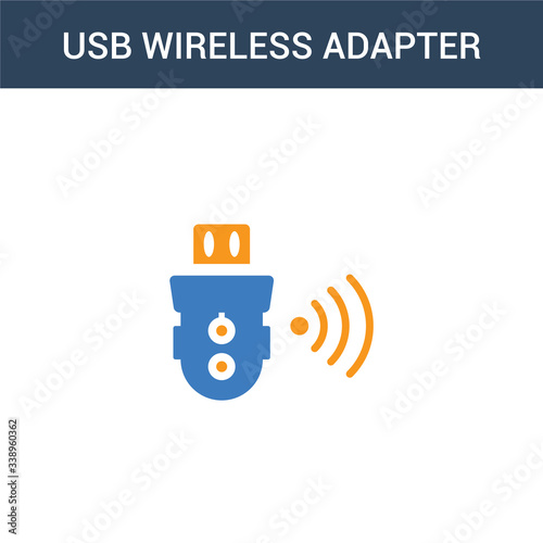 Photo two colored usb wireless adapter concept vector icon