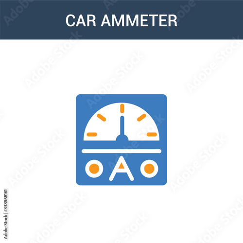 two colored car ammeter concept vector icon Canvas Print