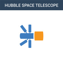 Two Colored Hubble Space Teles...