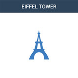 Fototapeta Fototapety z wieżą Eiffla - two colored Eiffel tower concept vector icon. 2 color Eiffel tower vector illustration. isolated blue and orange eps icon on white background.
