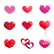 Vector Set Of Red And Pink Hearts In Different Styles: Cloth, Glossy, Mechanical, Grunge, Pixelated, Balloon, Rose Petals, Intertwined 3D And Smiling Emoticon. Can Represent Love, Union, Marriage, Val