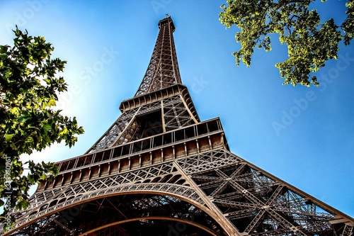 Fotografie, Obraz Low Angle View Of Eiffel Tower Against Blue Sky