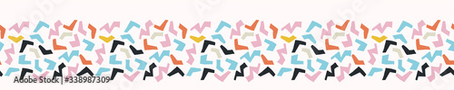 Ditsy bright confetti shapes seamless vector border pattern. Stylized paper cut out banner backgrounsd. Kawaii modern retro fun ribbon trim. candi childish bright sprinkles masking washi tape.