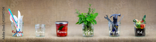 Slika na platnu Zero Waste management, illustrated in 6 jars with text Refuse, reduce, recycle, repair, reuse, rot