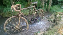 Old Dirty Bicycle In Stream Against Trees