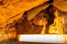 Phra Sabai Cave With Golden Buddha In Lampang Province