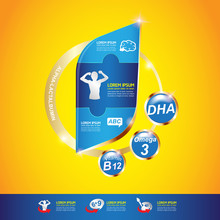 Nutrition Vitamin And Omega Vector Concept For Product Strengthen The Body And Intelligence