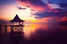 Gazebo Over Calm Sea During Sunset