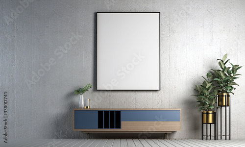 Fotografie, Obraz Modern design of loft living room interior and concrete texture wall background