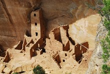 High Angle View Of Cliff Dwelling At Mesa Verde National Park