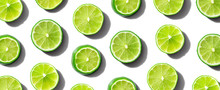 Fresh Green Limes Overhead View - Flat Lay